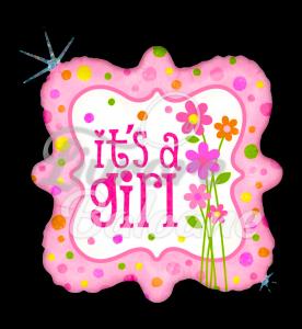 Square It's a GIRL Stars, 48 cm, Betallic