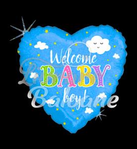 Welcome Baby BOY Holographic, 48 cm, Betallic