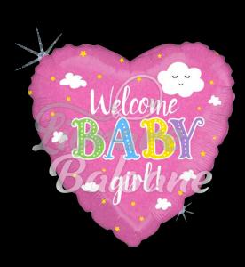 Welcome Baby Girl Holographic, 48 cm, Betallic