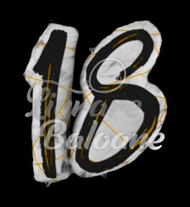 Marble Mate Numbers 18 BLACK-Glitetr Hol., 97 cm, Grabo