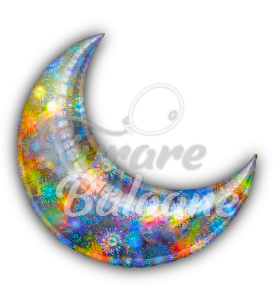 """Crescent  Moon  Silver Holographic  26"""" , Anagram"""