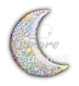 """Crescent  Moon  Silver 35"""",  Holograph"""