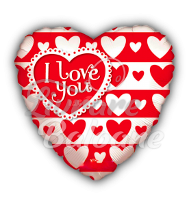 Balon Heart I Love You Red & White 46 cm, Mexico