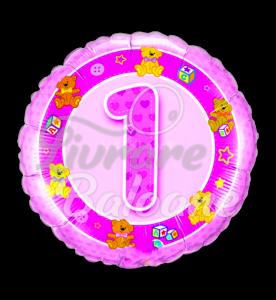 Age 1 Pink Teddies, 46 cm, Qualatex