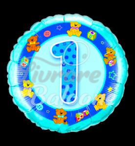 Age 1 Blue Teddies, 46 cm, Qualatex